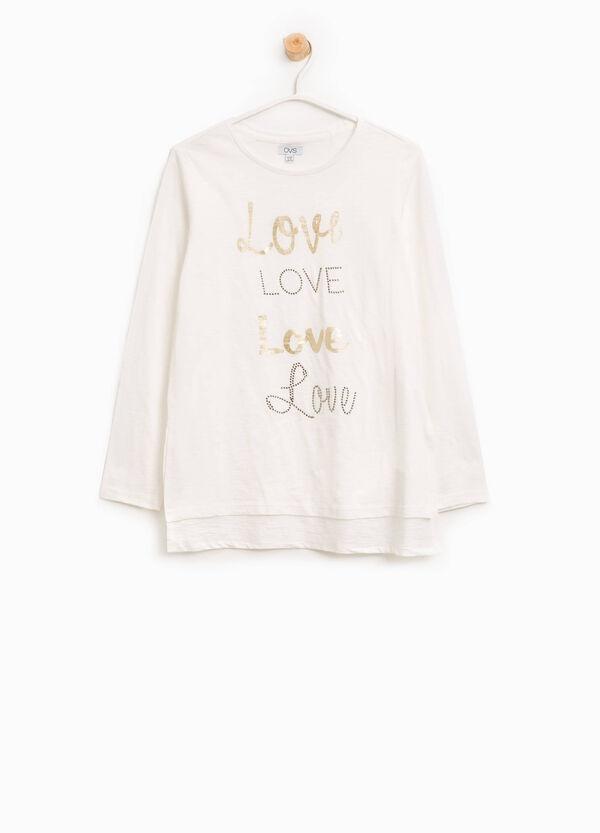 T-shirt in cotone con stampa e strass | OVS