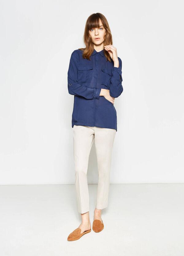 Pantaloni in satin di cotone stretch | OVS