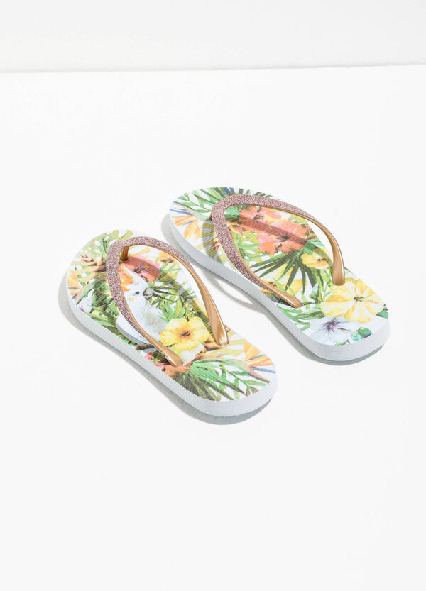 Glitter flip flops with print | OVS