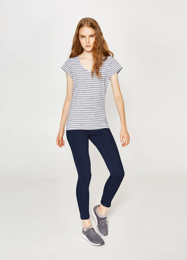 Patterned stretch cotton T-shirt | OVS