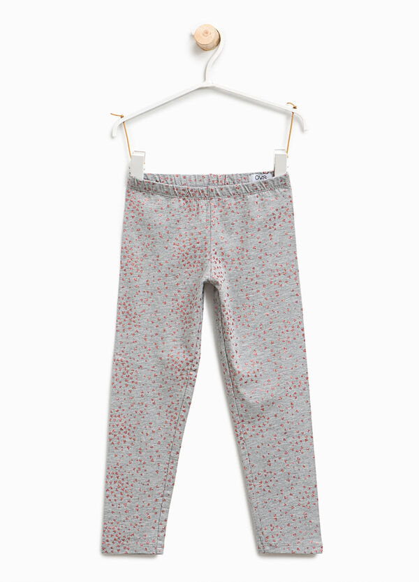 Leggings with glitter hearts print | OVS