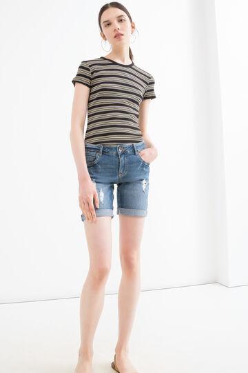 Bermuda di jeans stretch strappati