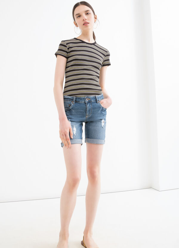 Stretch denim Bermuda shorts with rips | OVS