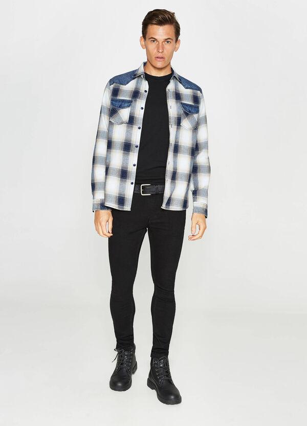Camicia casual in tessuto indigo tartan | OVS