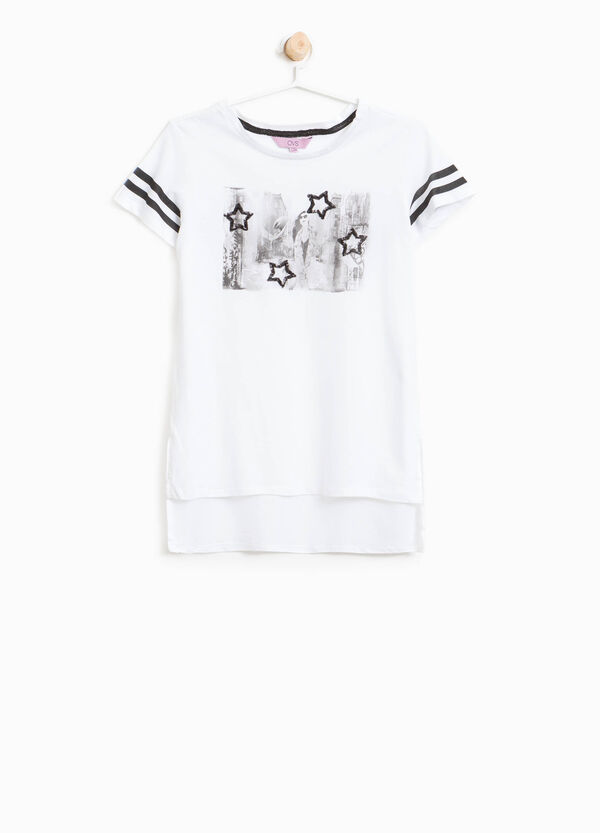 T-shirt in cotone paillettes e stampa | OVS