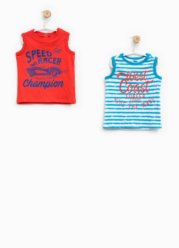 Two-pack printed and striped vests | OVS
