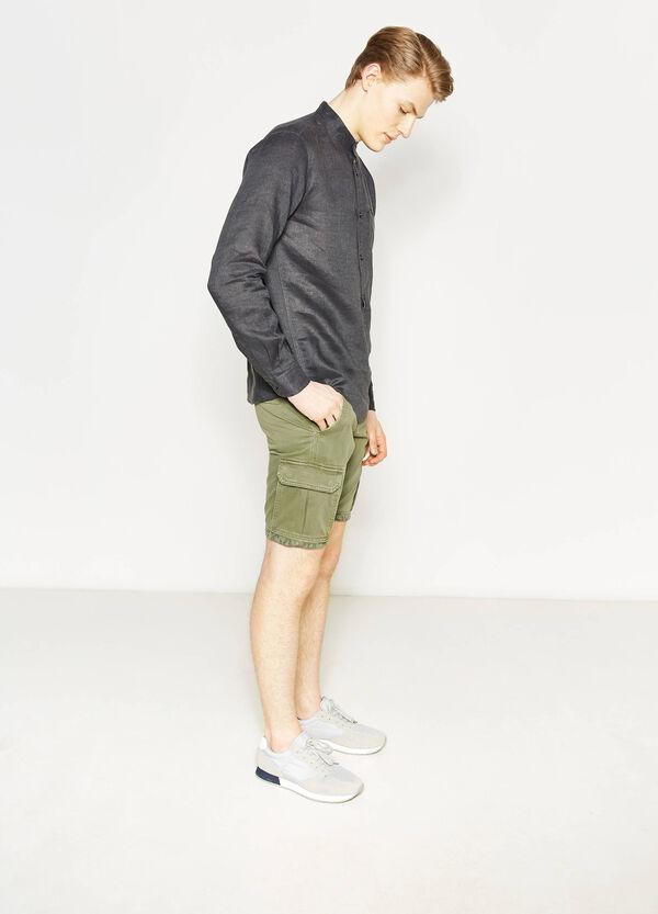 Camicia casual in lino colletto coreana   OVS