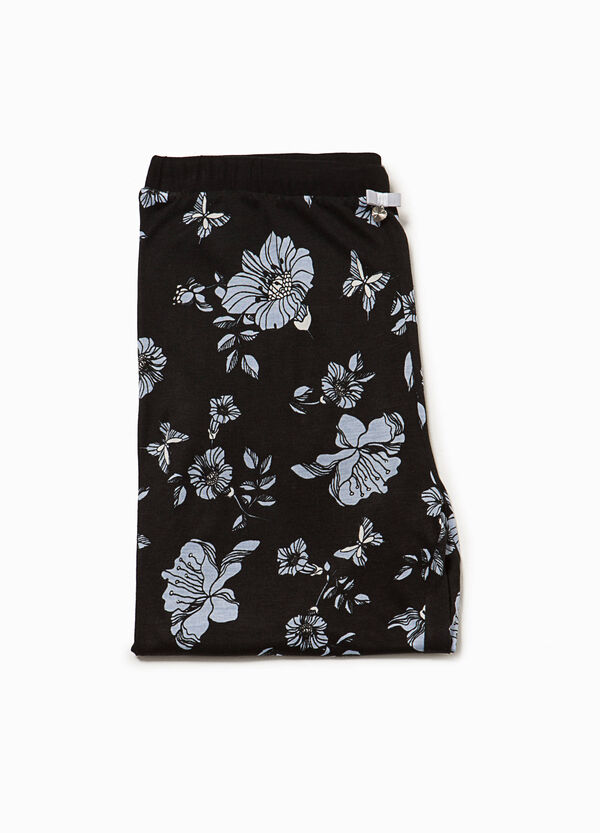 Floral pyjama bottoms with lace | OVS