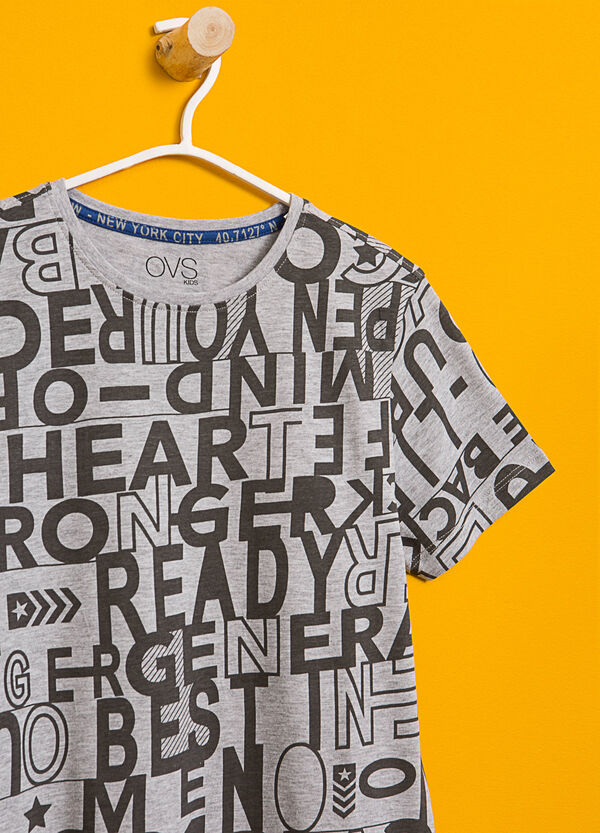 Lettering patterned cotton and viscose T-shirt | OVS