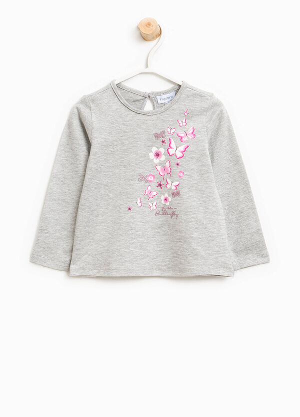Cotton T-shirt with butterfly print | OVS