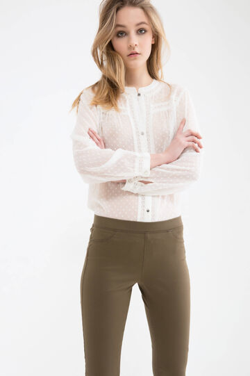 Solid colour jeggings with regular waist
