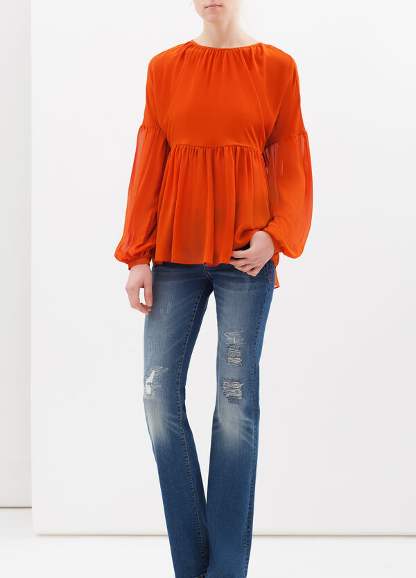Crêpe blouse with pleated motif   OVS