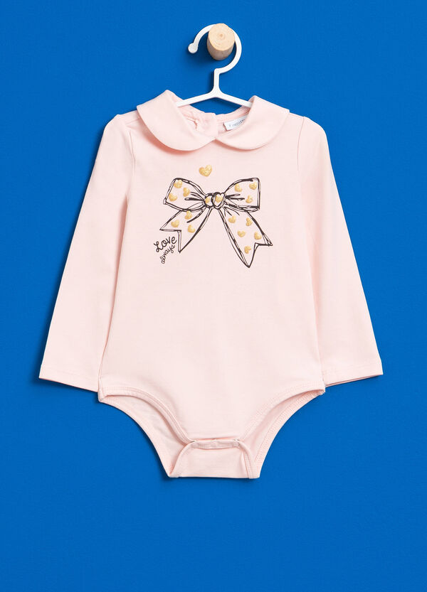 Stretch cotton bodysuit with glitter print | OVS