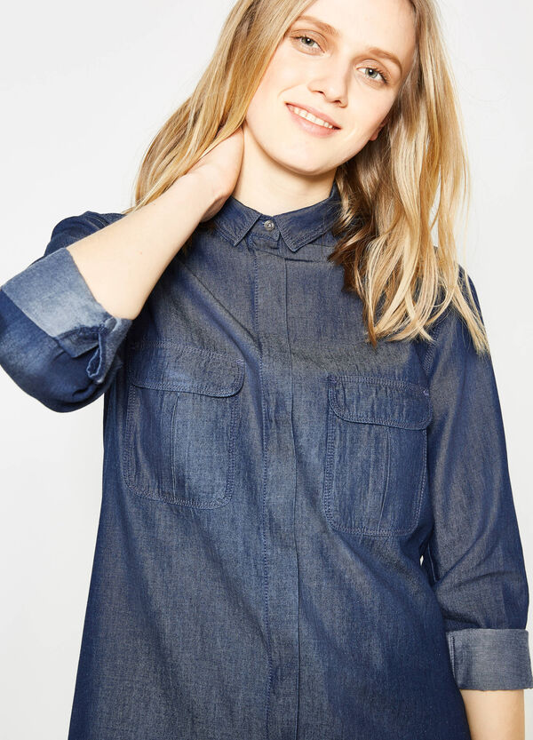 100% cotton shirt with rounded hem | OVS