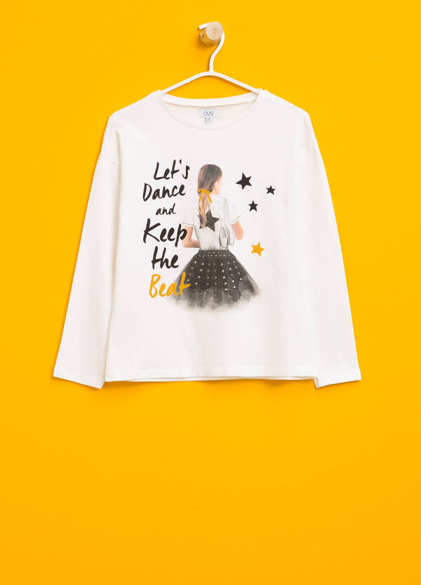 T-shirt in cotone stampa e borchie | OVS