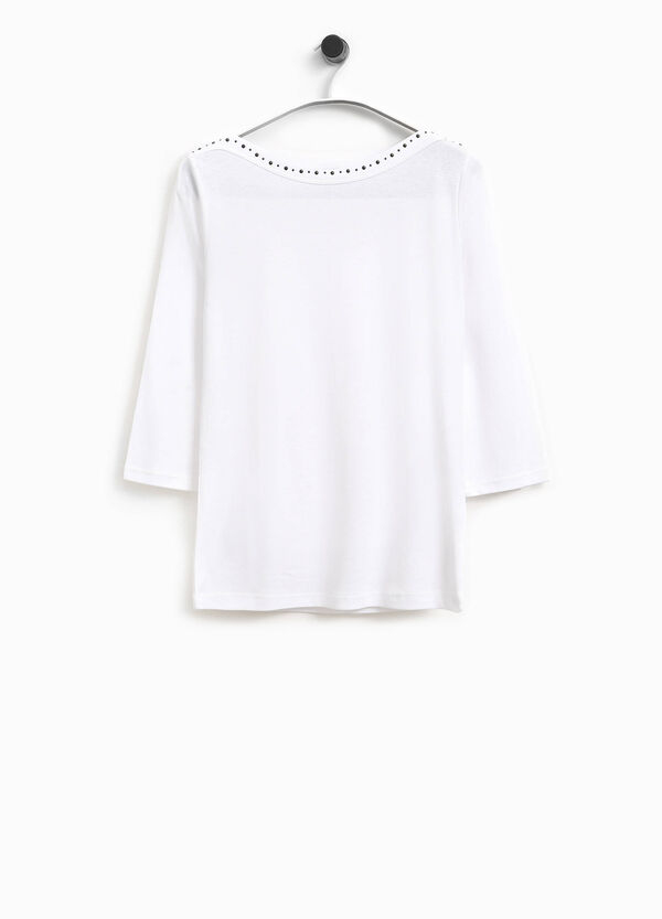 Smart Basic cotton T-shirt with studs | OVS