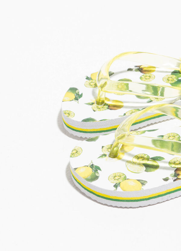 Lemon patterned flip flops | OVS