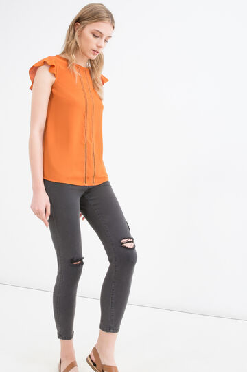 Solid colour sleeveless blouse