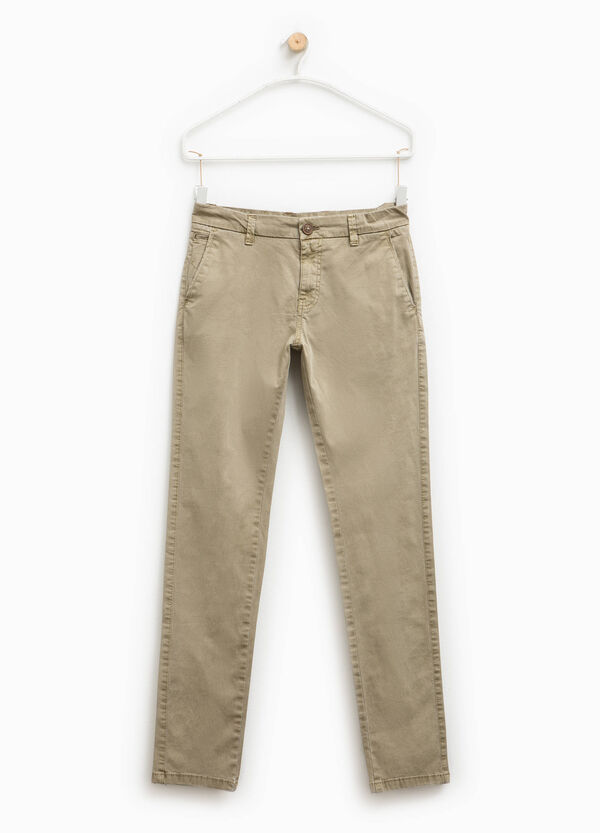 100% cotton chino trousers with zip | OVS