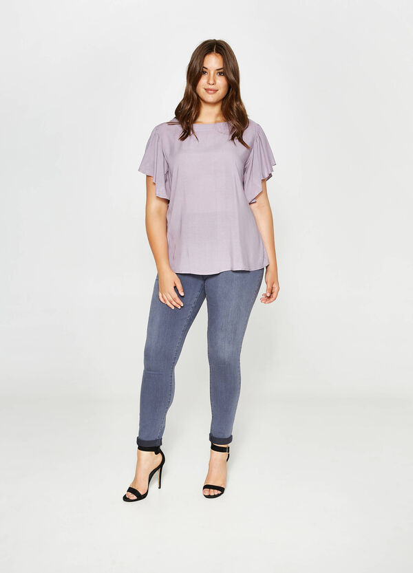 Curvy blouse in viscose with wide sleeves | OVS