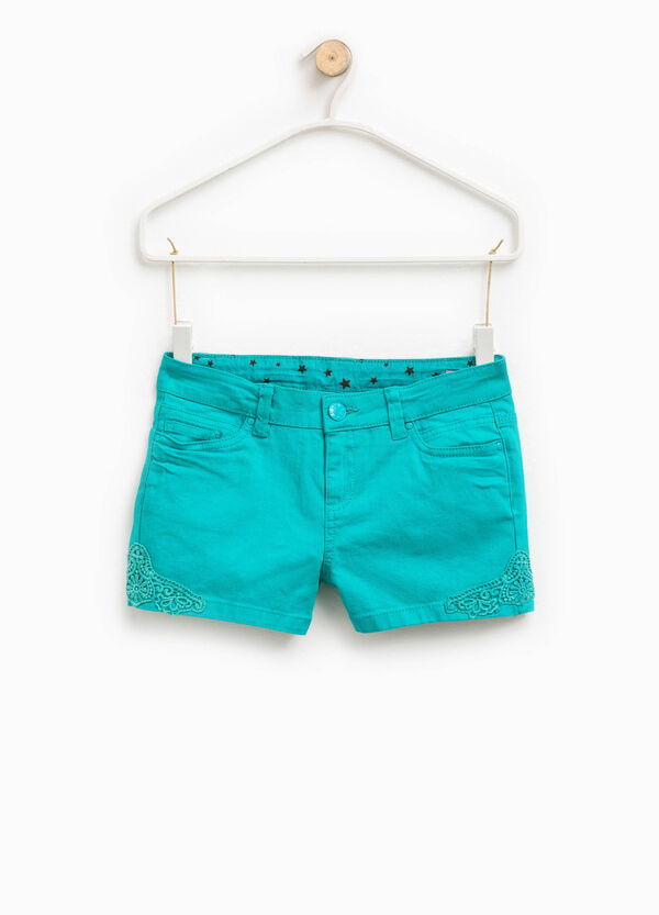 Stretch cotton shorts with lace | OVS