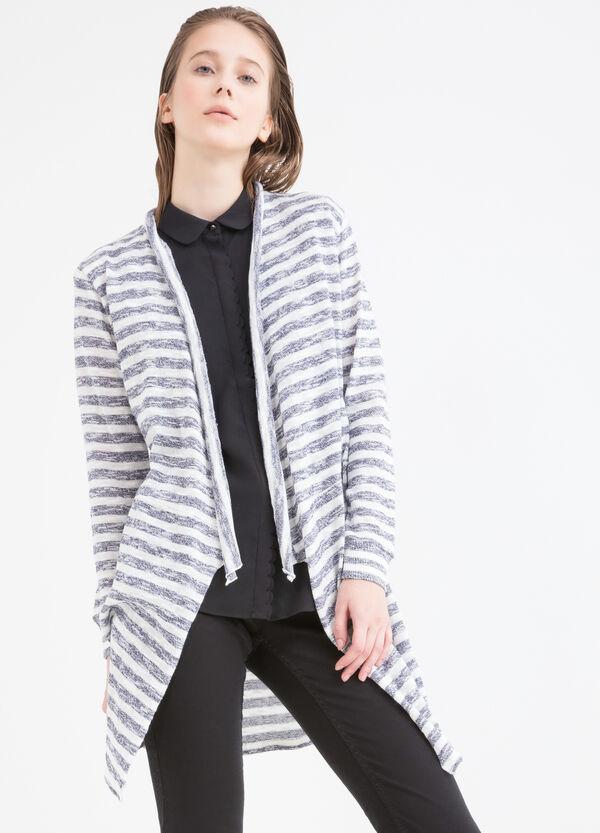 Cardigan lungo puro cotone a righe | OVS