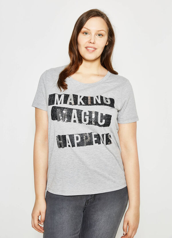 Curvy T-shirt with print and sequins | OVS