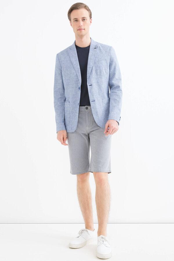 Linen-cotton blend patterned jacket | OVS