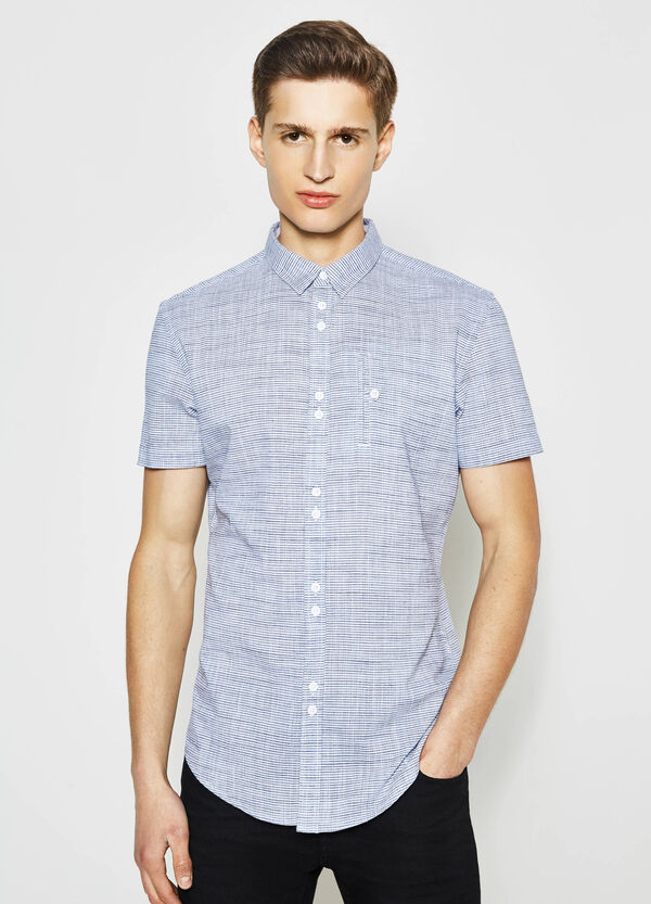 Striped slim-fit casual shirt | OVS