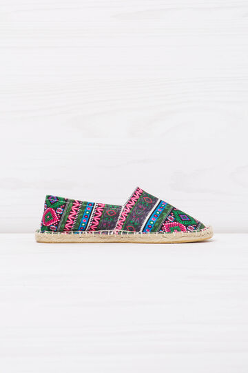 Espadrilles with multi-coloured ethnic pattern.