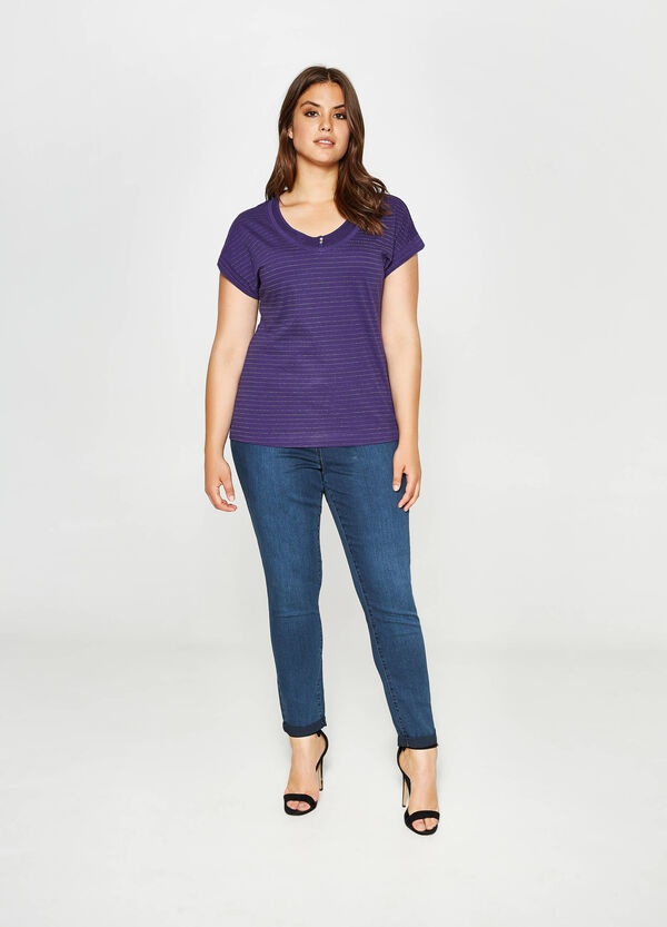 Curvy striped cotton glitter T-shirt | OVS