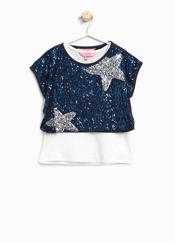 T-shirt with sequinned faux layer | OVS