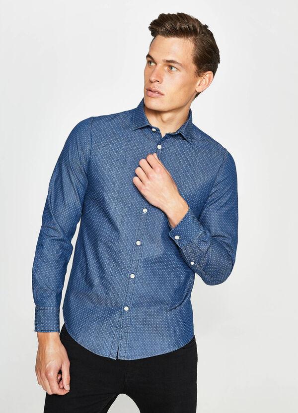 Camicia casual di jeans micro filato coupé | OVS