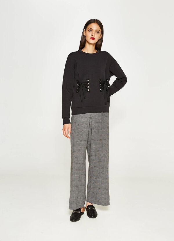 Stretch palazzo trousers with tartan pattern | OVS