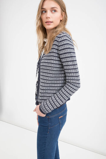 Striped cardigan with fringes