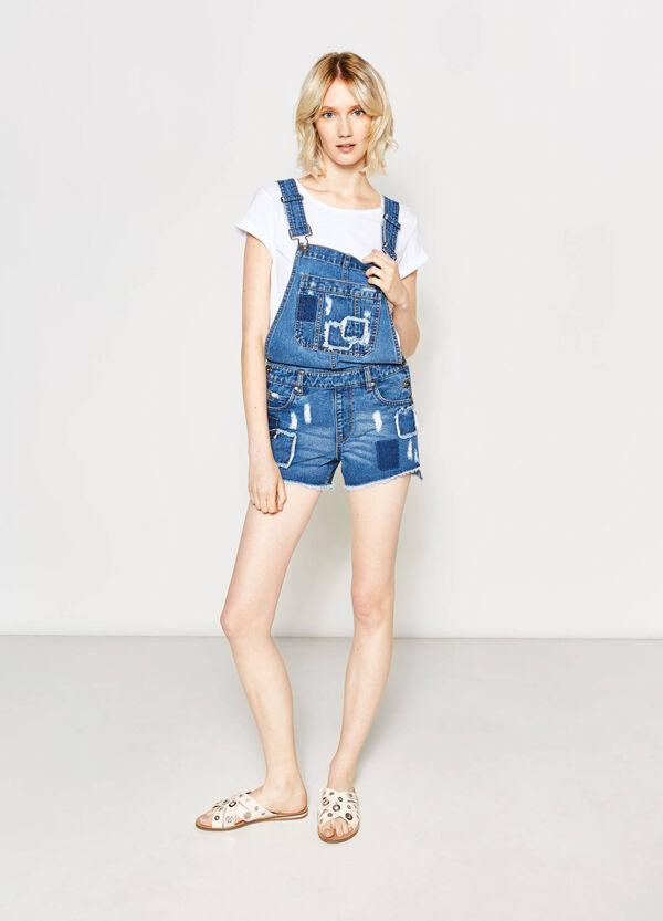 Salopette di jeans used con patch | OVS