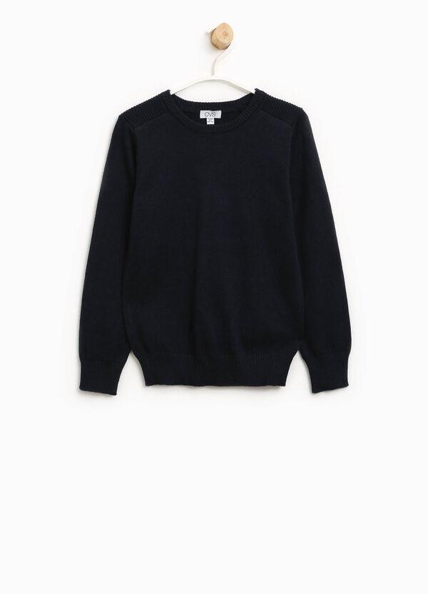 Pullover in cotone e lana tinta unita | OVS