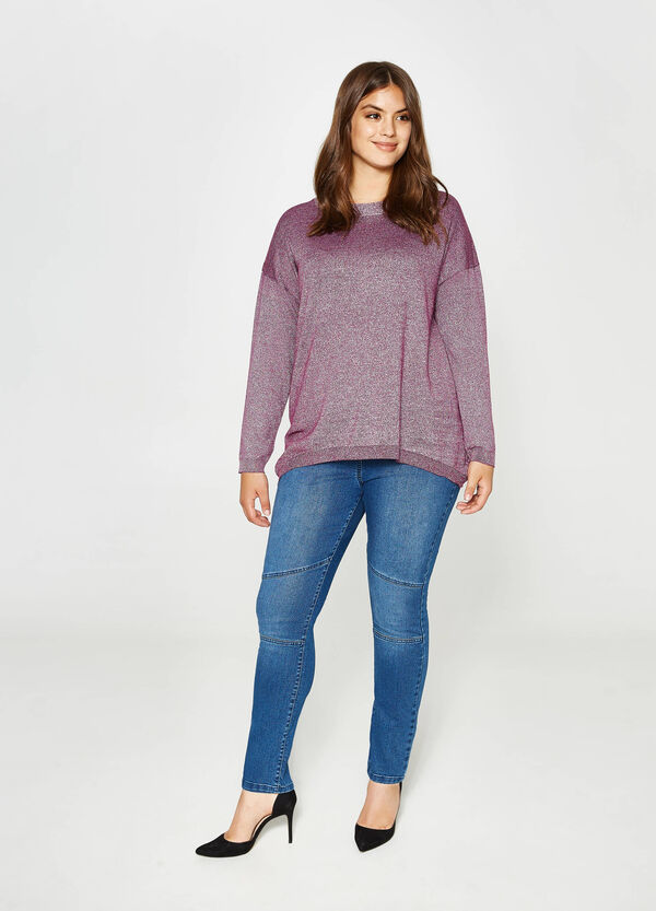 Curvy viscose pullover with lurex | OVS