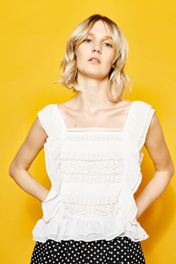 Embroidered cotton top with flounce