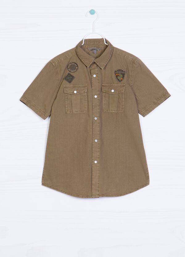 100% cotton shirt with applied patches | OVS