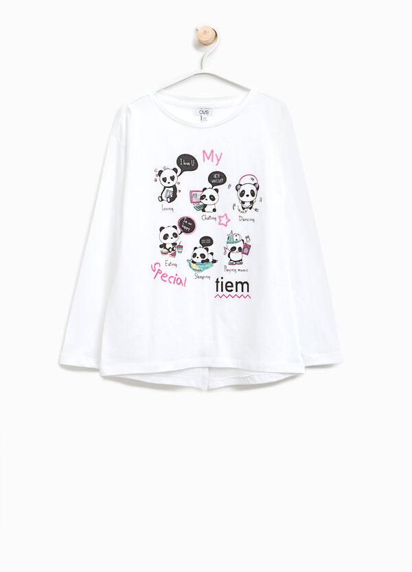 Cotton T-shirt with panda print   OVS