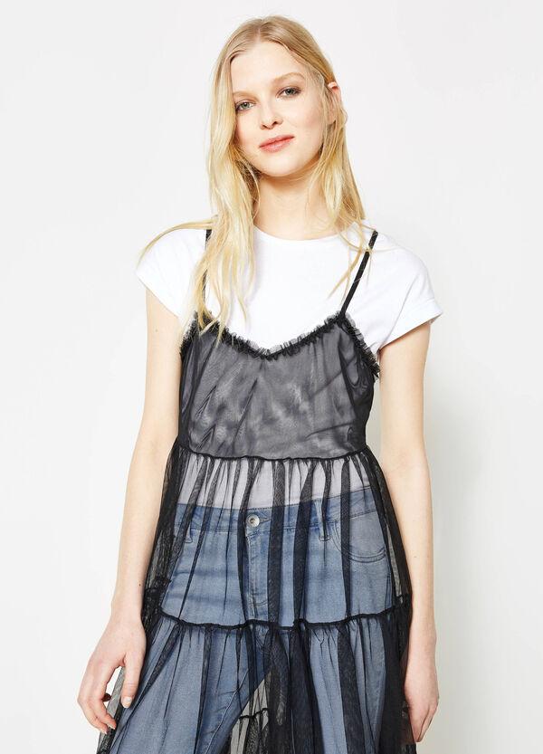Sleeveless semi-sheer tulle dress   OVS