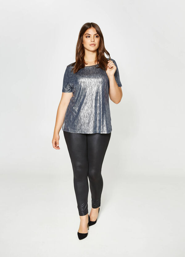Curvy T-shirt in 100% shiny viscose | OVS