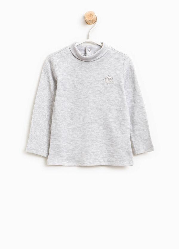 100% cotton turtleneck jumper with diamantés | OVS