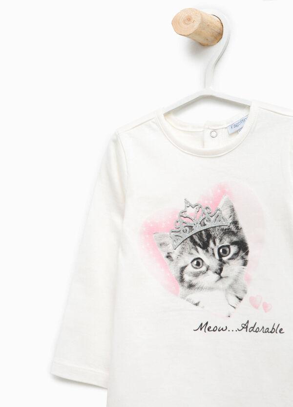 T-shirt con stampa glitterata gatto | OVS