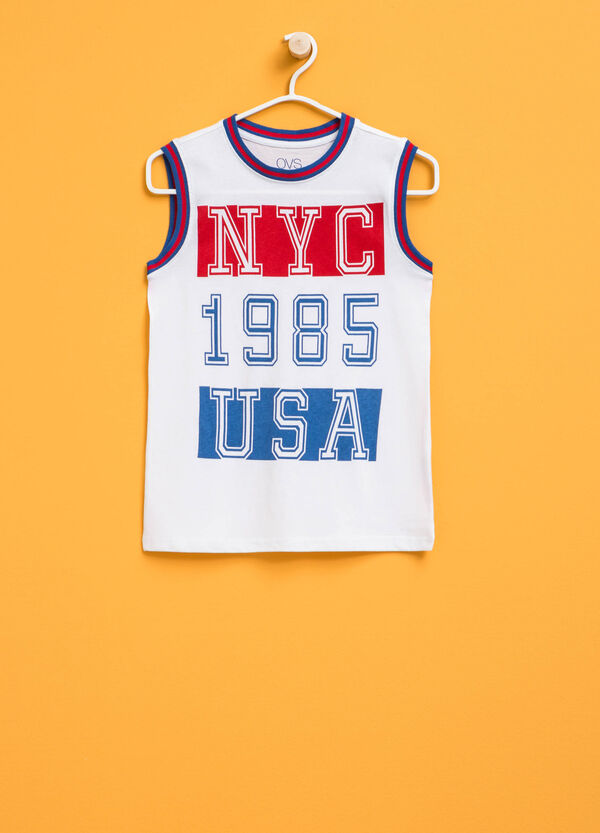 Vest top with round neck and printed lettering | OVS