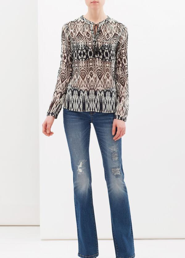 Mandarin collar patterned blouse   OVS