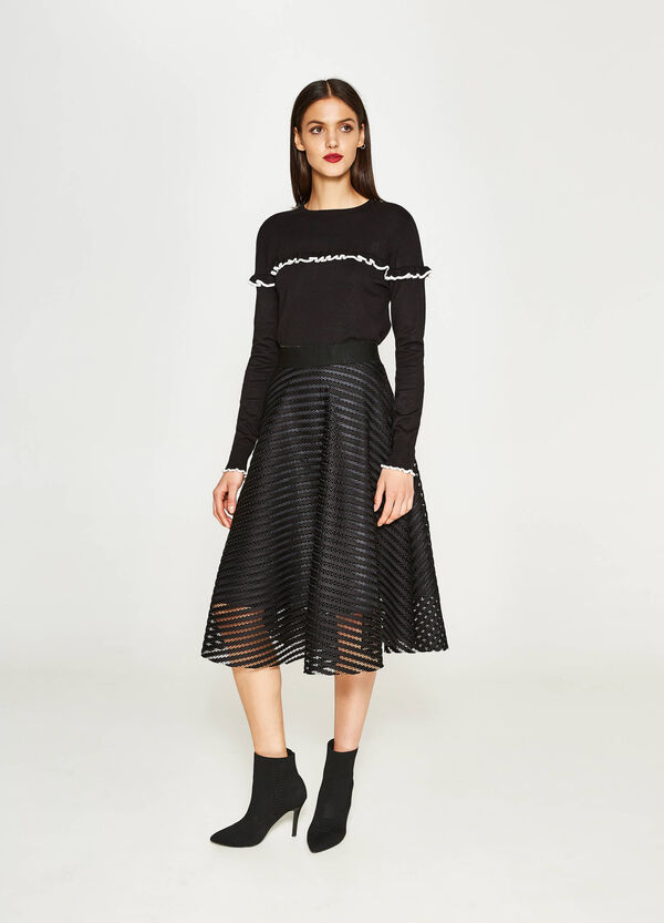 Full skirt with striped weave | OVS