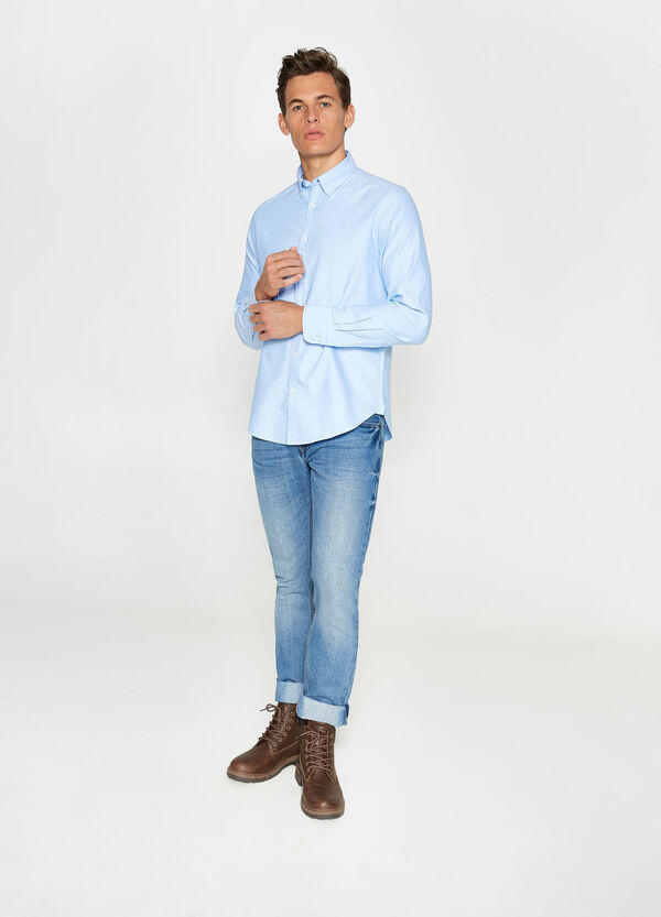 Solid colour slim-fit casual shirt | OVS