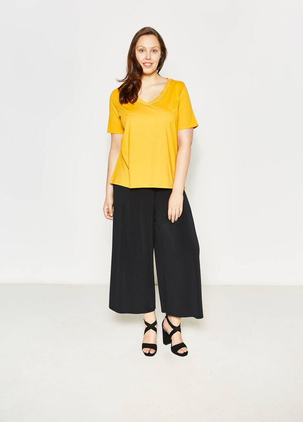 Curvy T-shirt with trim | OVS